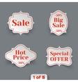 set sale paper retro labels vector image vector image