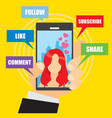 social media on cellphone vector image vector image
