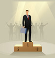 success businessman character standing in a podium vector image vector image