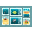 Summer camping stamp set Holiday vector image vector image
