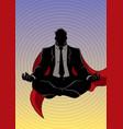 super businessman meditating background silhouette vector image vector image