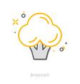 Thin line icons Broccoli vector image