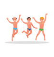 three young men jump on a white background vector image vector image