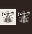 vintage monochrome summer camping badge vector image vector image