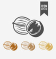 walnut isolated black and colored icons vector image