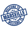 welcome to marseille blue stamp vector image vector image