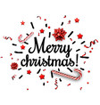 white merry christmas card with confetti vector image vector image