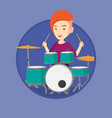 woman playing on drum kit vector image vector image