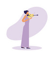 woman standing playing violin music vector image