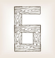 wooden number 6 engraving vector image vector image