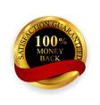 premium quality 100 money back golden medal icon vector image