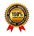 100 money back gold sign label template vector image vector image