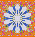 3d flowers seamless on neutral orange and blue vector image