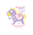 baby shop logo design emblem with rocking horse vector image vector image