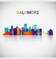 baltimore skyline silhouette in colorful vector image vector image