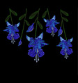 beautiful blue fuchsia flowers embroidery of jeans vector image vector image