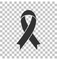 Black awareness ribbon sign Dark gray icon on vector image vector image