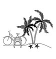 black silhouette with landscape in beach with bike vector image