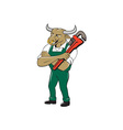 Bull Plumber Wrench Standing Isolated Cartoon vector image vector image