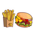 burger potato fry cartoon set isolated vector image vector image