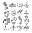 business management line icons pack 38 vector image vector image