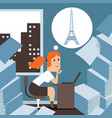 business woman dreams about relax vacation in vector image
