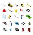 car service furniture and equipment icon set vector image