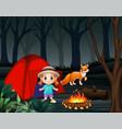 cartoon a little girl and a fox at a campsite vector image vector image