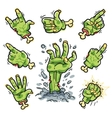 Cartoon Zombie Hands Set for Horror Design vector image vector image