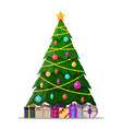 christmas tree decorated and gift boxes vector image vector image