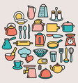 cooking set kitchenware line color icons in vector image