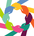 Creative Colorful Ring of Hands Teamwork Concept vector image vector image
