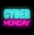 cyber monday neon lettering on dark background vector image