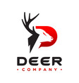 deer logo design with letter p vector image vector image
