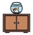 fish pet in aquarium over drawer vector image vector image
