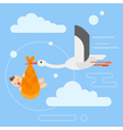 flat style of stork caring a newborn baby in the vector image vector image