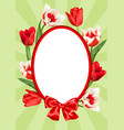 frame with red and white tulips beautiful vector image vector image