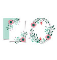 greeting card wedding flowers foliage floral style vector image