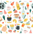 hand drawn seamless pattern with delicious food vector image