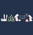 happy easter cute folk rabbit egg doodle banner vector image vector image