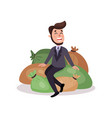 happy millionaire character sitting on a pile of vector image vector image