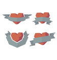 Heart with ribbons vector image vector image