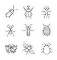 insects linear icons set vector image