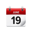 June 19 flat daily calendar icon Date vector image vector image