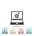 laptop and gears icon isolated on white background vector image vector image