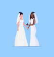 lesbian brides couple same gender happy married vector image