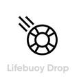 lifebuoy drop help icon editable line vector image vector image