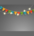 light and flag garlands isolated on transparent vector image vector image