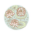 lotus floral round plate design vector image
