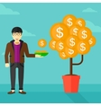 Man catching dollar coins vector image vector image
